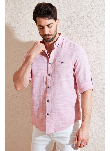 Buratti Buratti % 100 Pamuklu Slim Fit Uzun Kollu Gömlek Erkek Gömlek Cf21S111498 Kırmızı